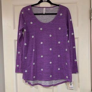 LuLaRoe purple and gray Lynnae shirt S NWT